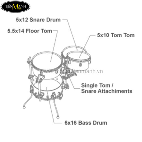 Bộ Trống Dàn Cơ Tama Cocktail-Jam Drum Kit VD46CBCN-ISP (Xanh)