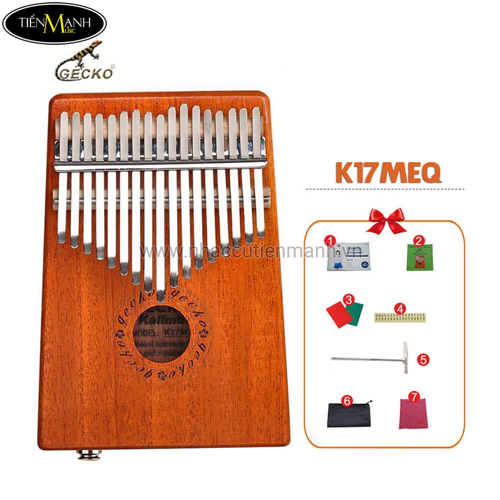 Đàn Kalimba Gecko 17 Phím K17MEQ (Có EQ – Gỗ Mahogany – Mbira Thumb Finger Piano 17 Keys)