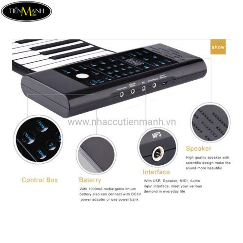Đàn Piano 61 phím cuộn mềm dẻo Konix Flexible PB61 - Pin sạc 1000mAh