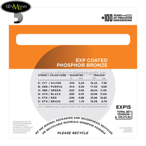 Dây Đàn Acoustic Guitar Coated Phosphor Bronze DAddario EXP15 (Có lớp phủ)