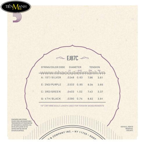 Dây Đàn Ukulele DAddario Titanium Concert EJ87C