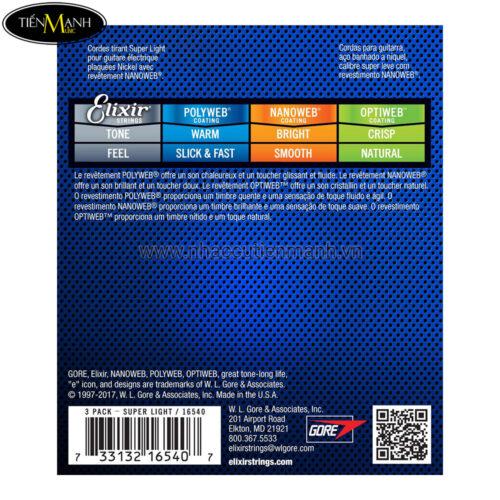 Pack 3 bộ Dây Đàn Guitar Electric Elixir 16540 (Cỡ 9-42 -  Phủ lớp Nanoweb cao cấp)