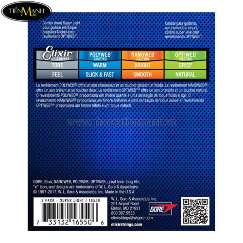 Pack 3 bộ Dây Đàn Guitar Electric Elixir 16550 (Cỡ 9-42 - Nickel Plated Steel - Phủ lớp Optiweb cao cấp )