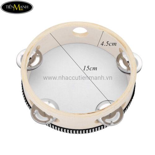 Trống Lắc Tay Gỗ - Tambourine (có mặt 15cm) LG6-4