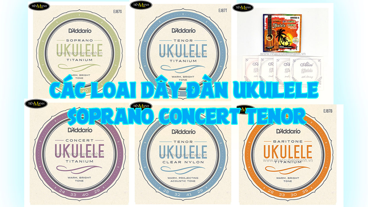 Các loại dây đàn Ukelele: Soprano, Tenor và Concert