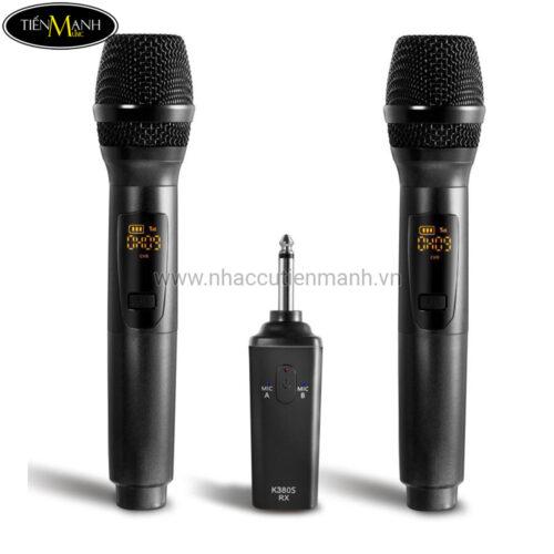 Bộ đôi micro karaoke không dây K380S (tích hợp pin sạc)
