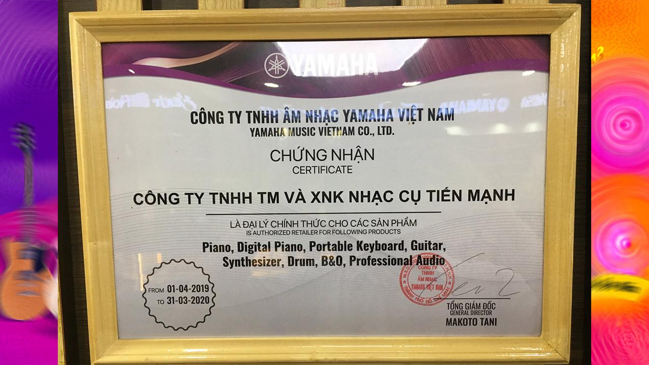 Chứng Nhận đại lý chính thức của yamaha Việt Nam - Tiến Mạnh