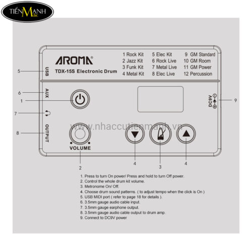 Trống Điện Tử Aroma TDX-15S