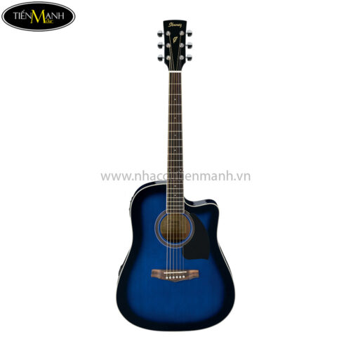 Ibanez PF15ECE-TBS Acoustic Guitar, Transparent Blue Sunburst High Gloss