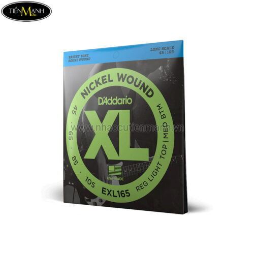Dây Đàn Guitar Bass D'Addario EXL165 Nickel Wound, Custom Light, 45-105, Long Scale